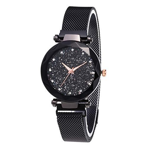 El más Nuevo Reloj Starry Sky a Prueba de Agua, Correa magnética con Hebilla, Reloj de Acero Inoxidable para Mujeres niñas (Black)