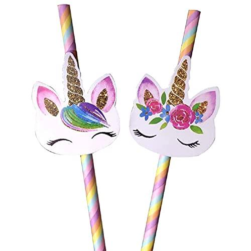 TaoQi 20 cannucce di carta con caricatura a forma di unicorno, per matrimoni, per feste di compleanno dei bambini, usa e getta, 7,75 pollici