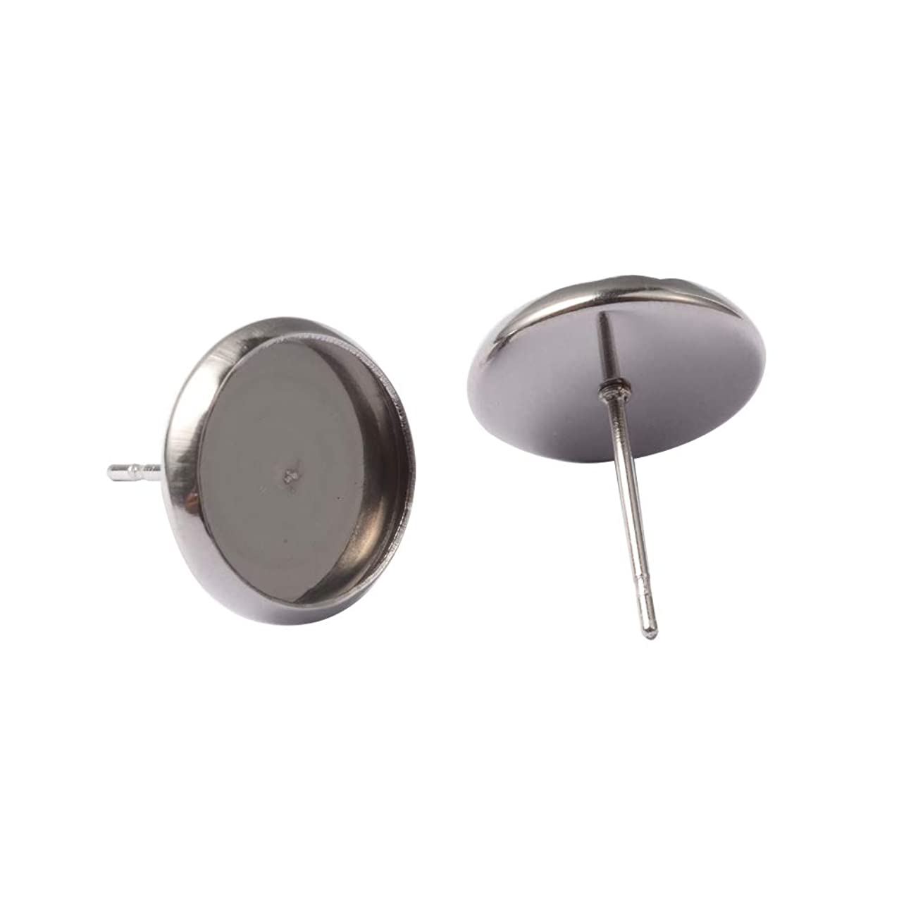 PH PandaHall About 200 Pcs 304 Stainless Steel Ear Stud, Flat Round Bezel Tray Blank Cabochon Setting Earring Posts for Earring Finding, Platinum, Inner Tray: 10mm znpxewbizcsrq620