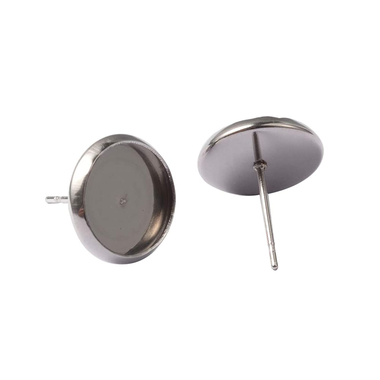PH PandaHall About 200 Pcs 304 Stainless Steel Ear Stud, Flat Round Bezel Tray Blank Cabochon Setting Earring Posts for Earring Finding, Platinum, Inner Tray: 10mm