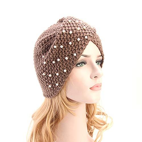 Egurs gebreide muts voor dames en heren, met parel, handgemaakte Indiase stijl, warme turbanhoed