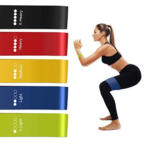 Redmoo Fitnessband, 5er Set Theraband Gymnastikband Fitnessbänder Widerstandsbänder Resistance Band mit 5-Stärken X-Leicht, Leicht, Mittel, Schwer, X-Schwer für Muskelaufbau,Yoga,Pilates