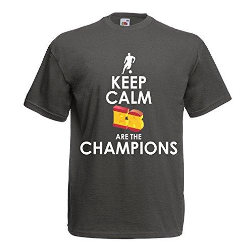 lepni.me Camisetas Hombre Españoles Son los campeones, Campeonato de Rusia 2018, Copa del Mundo - Equipo del fútbol de Camisa del admirador de España (Large Grafito Multicolor)