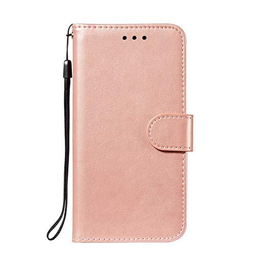 IMOK Nokia 7.3 Brieftasche Ledertasche, Handytasche mit [Bargeld- & Kartensteckplatz] [Basis] [Magnetfunktion], kompatibel mit Nokia 7.3-Rose Gold