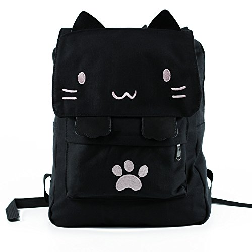 Black College Cute Cat Embroidery Canvas School Backpack Bags for Kids Kitty(Pink)