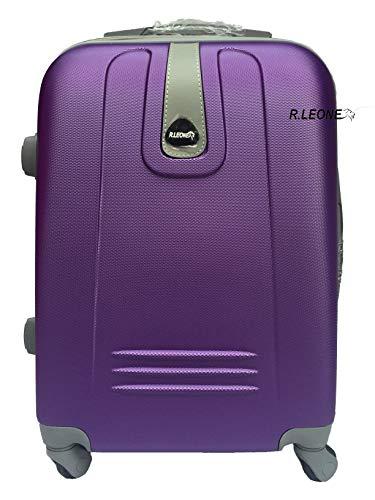 R.Leone Valigia Trolley Bagaglio a mano Rigido Ultraleggero in ABS 4 Ruote Autonome 188 (Viola)