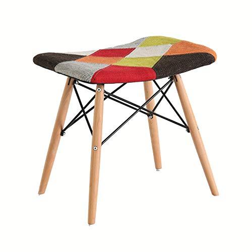 スツール椅子 パッチワーク腰掛け 優雅木製の脚 北欧スタイル ダイニング腰掛け 机腰掛け ドレッシング腰掛け (暖かい色)