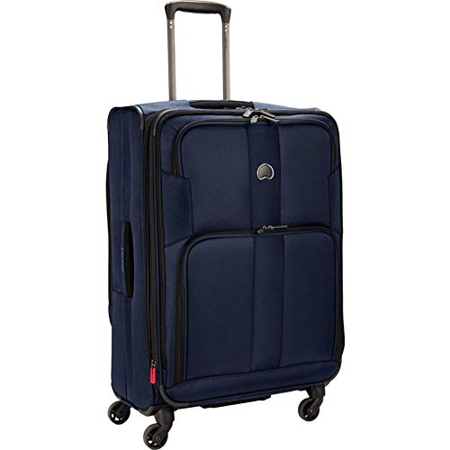 DELSEY Paris Sky Max 2.0 Softside Expandable Luggage with Spinner Wheels, Navy Blue, Checked-Medium 25 Inch