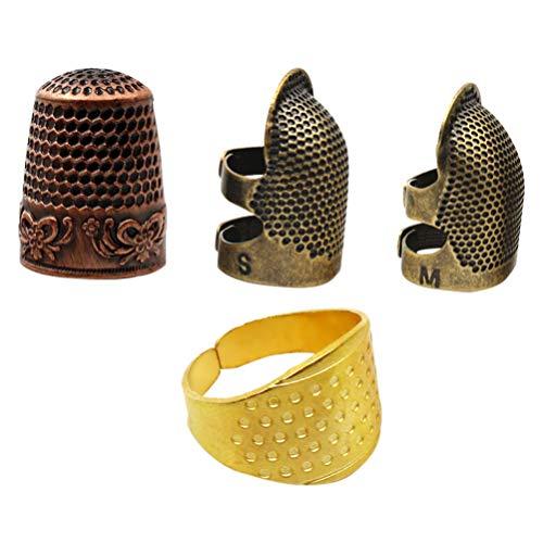 Artibetter 4 Pièces Dé à Coudre Alliage Doigt Dé à Coudre Protecteur Quilting Doigt Bouclier Anneau Bricolage Outils de Couture pour Démarreur Débutant