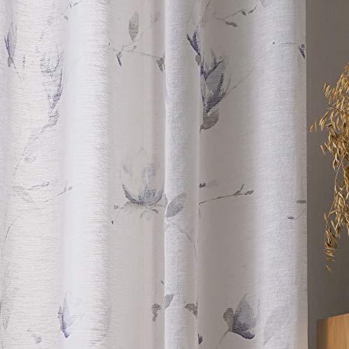 Viste tu hogar Cortina Translúcida con Diseño Floral, Estilo Simple y Elegante, Ideal para la Decoración del Hogar, 1 Pieza, 150X260 CM en Color Azul