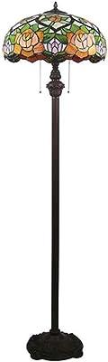 Tiffany Style Lampadaire, Lampe de salon, Rétro Vitrail Abat-jour Lampe sur pied, la taille 160cm, 2 × E27 Max. 40W, Interrupteur à tirette, Salon Chambre Étude Lumière debout