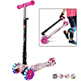 Hikole Scooter for Kids, Foldable Scooter for Toddlers Girls & Boys with LED Lights Up Scooters Wheels, Adjustable Height Scooter for Children Ages 3-12