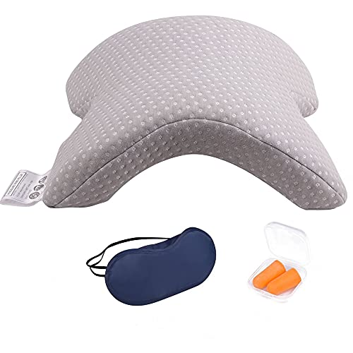 Neck Cervical Pillow for Couples Cuddle Pillow Memory Foam Pillow for Sleeping Slow Rebound Pressure Arched Couple Pillow for Side Sleeper Neck Back Pain Lumbar Support Office Rest Pillow