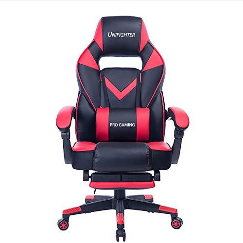 Gaming Stuhl Mit Wippfunktion Racing Stuhl Bürostuhl Höhenverstellbarer Drehstuhl PC Stuhl Ergonomischer Chefsessel,Red black