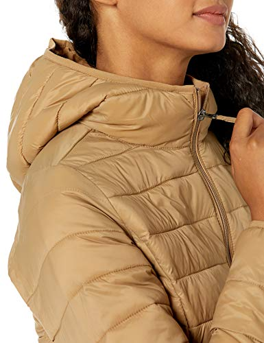 Amazon Essentials Lightweight Water-Resistant Packable Hooded Puffer Jacket Chaqueta aislada, Camel, L
