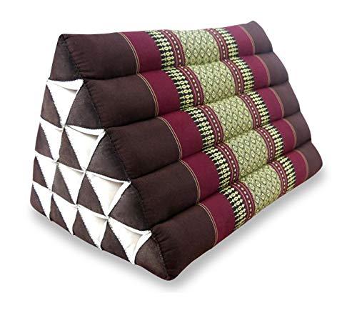 livasia Großes Dreieckskissen als Rückenstützkissen, Thaikissen BZW. Keilkissen, Nackenkissen fürs Bett (weinrot)