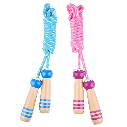 Hianjoo Springseil Kinder mit Cartoon Holzgriff, Speed Jump Rope Für Fitness, Ausdauer, Geeignet für Jungen und Mädchen, 2.6M Länge Einstellbar Seilspringen [Pink+Blau]
