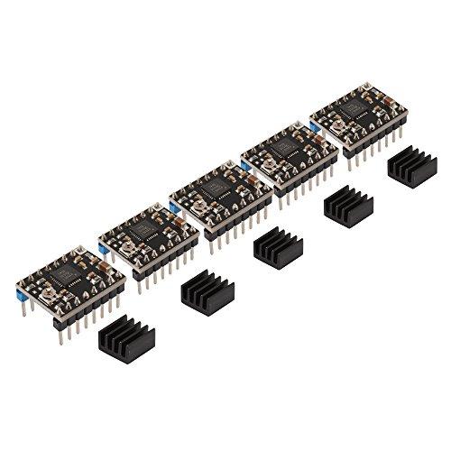 HALJIA 5PCS A4988 Stepstick Stepper Motor Driver Module Heat Sink for 3d Printer Reprap