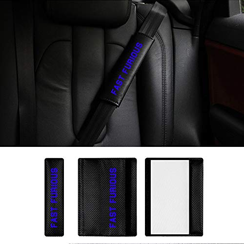 Pads para Cinturón de Seguridad para Touareg Touran Sharan Amarok Golf GTI con Fast Furious Azul Pegatinas (2 Unidades)