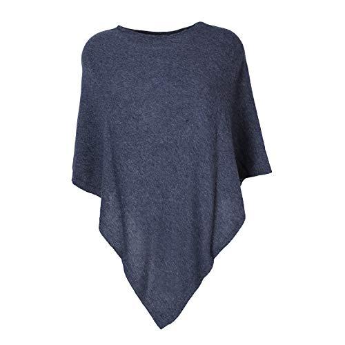Glamexx24 Damen Elegante Poncho Strick Pullover Strick Jacke mit Stern Muster PO201605, 15061 Schwarz, Einheitsgröße