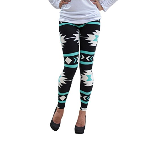 Hattfart Women Girl Leggings,Skinny Geometric Print Stretchy Pants Leggings Active Yoga Pants (M) Black
