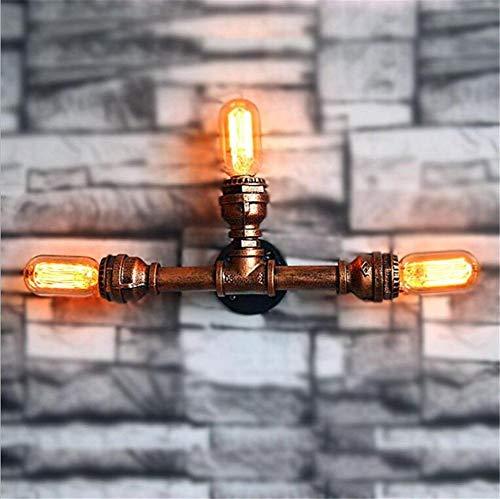YLCJ Wandlamp, vintage, industriële lampen, wandlamp, wandlamp, slaapkamer, nacht gang, bar, café, trap, drie koppen, smeedijzer, buizen, water, wandlamp