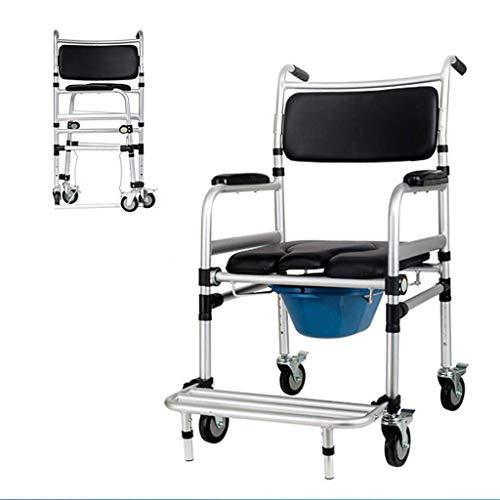 Wohnaccessoires Älterer behinderter Stuhl für Duschtransport in Aluminium Dauerhaftes wasserdichtes Leichtgewicht aus dem Badezimmer Tragbarer bequemer Stuhl mit verstellbarer Toilette für ältere F