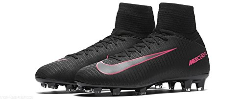 Nike Kids Mercurial Superfly V FG Black/Black/Pink Blast Shoes - 4.5Y