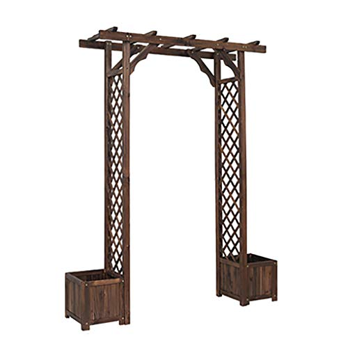 RuBao Gardening Garden Arch Wooden with Planters Pergola Arbour Plant Bed,Natural Tan Wood Arched Support Frame Rose Archway,for Climbing Plants Trellis Support