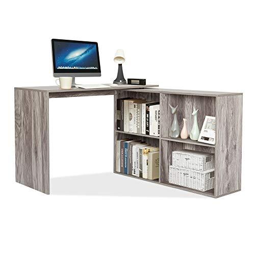 Mondeer - Escritorio de esquina - con almacenamiento, 4 estantes, angular reversible, madera, 106 (W) x 106 (D) x 74,5 (H) cm (gris)