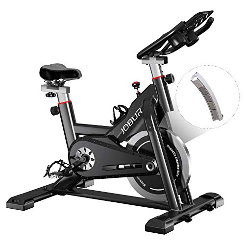 JOBUR Magnetic Exercise Bikes with Ipad Mount,Fitness Bike with Comfortable Seat Cushion, Quiet Magnetic Resistance Excersize Bike, Stationary Bike for Seat & Handle Height Adjustable(Black)