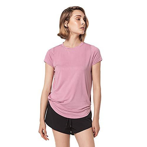 EVFIT Top da Corsa per Allenamento Doppio Nodo delle Donne Allentate Maglietta Asciugatura Rapida Sport Yoga Wear Formazione Maglia da Running (Color : Pink, Size : M)