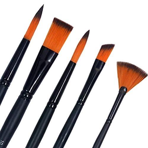 KABEER ART® Short Black Handle Synthetic Mix Artist Paint Brush Set, 5 Pieces