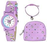 Tikkers - Set di orologio, collana e borsa con unicorno, colore: lilla