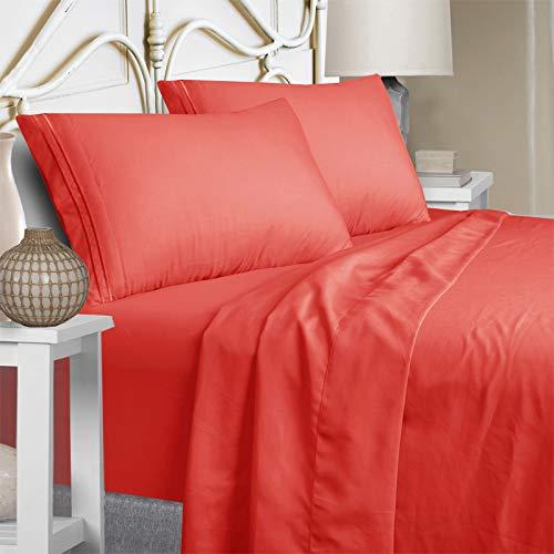 Mejoroom King Size Sheet Set - Soft Microfiber Bed Sheets,Deep Pocket Fitted Sheet, Hypoallergenic,Wrinkle& Breathable, Fade Resistant - 4 Piece (King, Hot Pink)