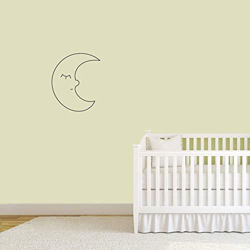 Luna calcomanías de pared para sala de estar habitación de bebé decoración del hogar jardín de infantes pegatinas de pared lindas vinilo decoración de pared monocromática