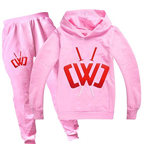 Boys and Girls Autumn and Winter Sportswear Suits, Chad Wild Clay Children's Hoodie Casual Pants Suits are Suitable for Children Aged 3-17 Pink