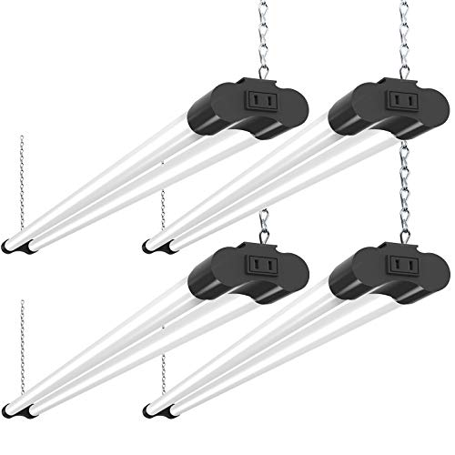 Bbounder 4 Pack Linkable LED Utility Shop Light, 4 FT, 4000 LM, 48 Inch Integrated Fixture for Garage, 40W Equivalent 250W, 5000K Daylight, Surface + Suspension Mount, Black