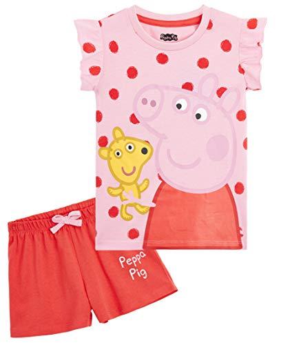 Peppa Pig Pijama Niña, Ropa Niña 100% Algodon, Conjunto 2 Piezas Pijama Niña Verano, Pijama Corto...