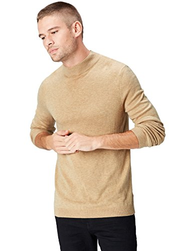 Amazon-Marke: find. Herren Pullover Turtle Neck, Beige (Camel Marl), M, Label: M