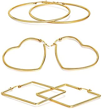 3-Pairs Lateefah Stainless Steel Large Hoop Earrings in Gold Plated