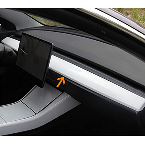 BMZX Tesla Model 3 Model Y Dash Wrap ABS Glossy Dashboard Cover Cap Interior Decoration Wrap Kit- Piano White