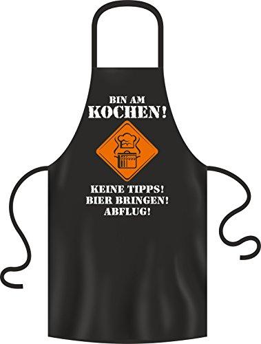 BBQ Solutions Kochen Keine Tipps Bier bringen Abflug Grillschürze | Kochschürze mit lustigem Spruch, Schwarz, 28 x 22 x 2 cm