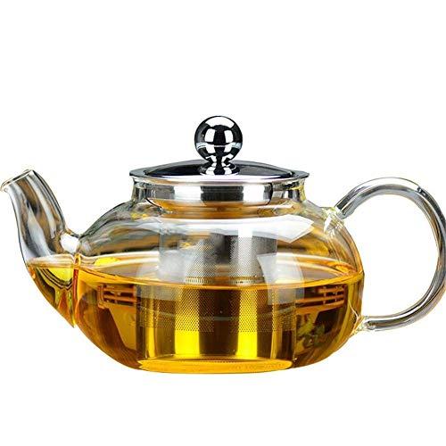 JiangKui Tetera de Vidrio Transparente Teteras de Vidrio de Borosilicato Infusor de Calentamiento Directo Perfecto para Tetera Y Cafetera Tetera de Gran Capacidad