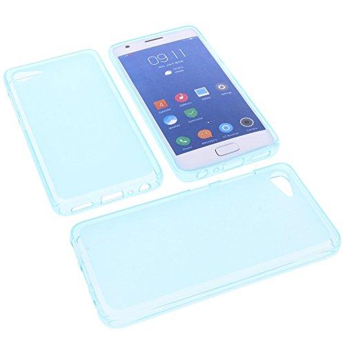 foto-kontor Tasche für ZUK Z2 Gummi TPU Schutz Handytasche blau