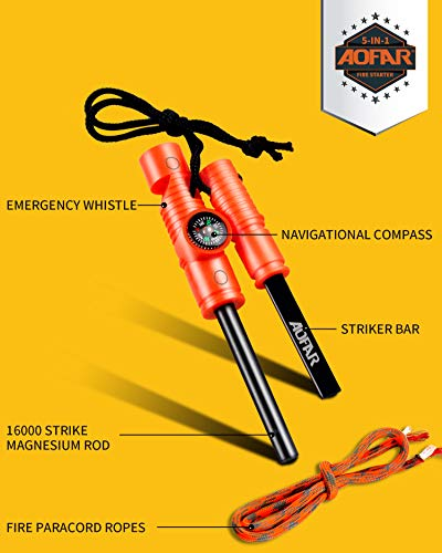 AOFAR Fire Starter AF-381 Fire Steel 5-in-1 for Camping, Hiking, Hunting, Backpacking, Boating, Outdoor Magnesium… 5