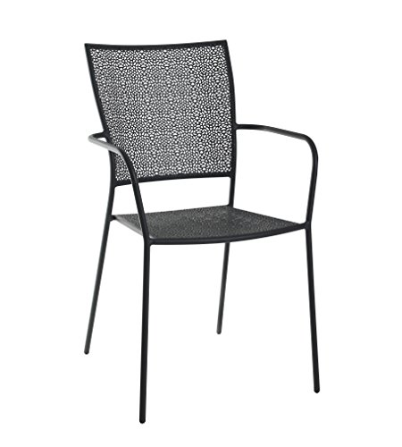 greemotion Mykonos Stacking Garden Chair, Weather-resistant Plastic-coated Steel Garden Armchair with Perforated Seat and Backrest, Patio Chair approx. 55 x 54 x 87 cm, Max. Load up to 110 kg, Black