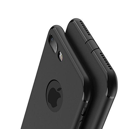 IRunningSystem Schwarz Matte für iPhone 7 kompatible Hülle Silikonhülle (4,7 Zoll) mit integriertem Staubschutz Ultra-Slim (0,5mm Dicke)