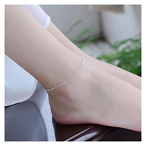 RHoet 925 Moda de Plata esterlina Simple Elegante Cadena retorcida Pulseras Joyas para Mujer Ola Tobillo Regalos Pulsera de la Amistad (Gem Color : Anklet)
