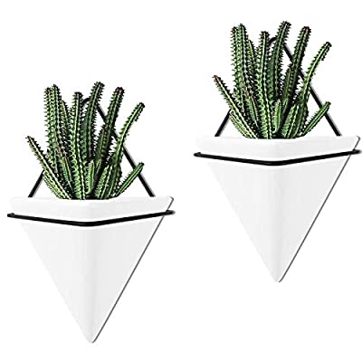 Set of 2 - Large Wall Hanging Planter Indoor Decor Geometric Wall Decor Wall Planter, Indoor Ceramic Planter Succulent Planter for Home Decor